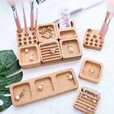 Unfinished Wooden Cosmetic Organizer Makeup Holder Ring Jewelry Case Box Storage