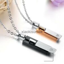 Men' Womens Lover Necklaces Rectangle Pendant 316L Stainless Steel Couple Gifts