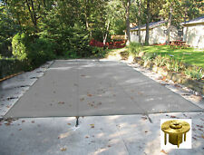 Rectangle GRAY MESH Safety Pool Cover w/ Wood Deck Anchors - 12 Year Warranty