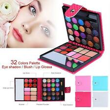 Pro 32 Colors Shimmer Eyeshadow Eye Shadow Palette & Makeup Cosmetic Brush Set T