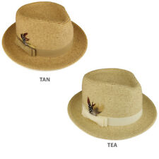 Paper Straw Wide Brim Fedora Hat with Grosgrain Band and Feather -  FREE SHIP
