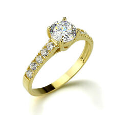 Women 14K Yellow Gold Round Cubic CZ Solitaire Wedding Engagement Ring Band