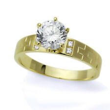 Women 14K Yellow Gold 1 Carat Round CZ Solitaire Wedding Engagement Ring Band