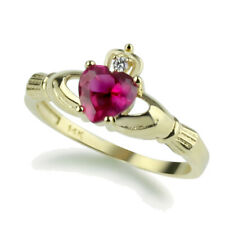 Women 14K Yellow Gold Simulated Ruby CZ Heart Celtic Claddagh Ring Band