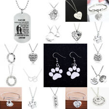 Heart Paws Dog Tag Necklace Bracelet Earring For Women Men Friend Family Jewelry