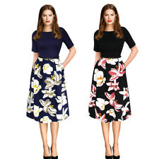 Fashion Vintage Dress Floral Belted Tunic Pinup Work Office Party Skater Dress