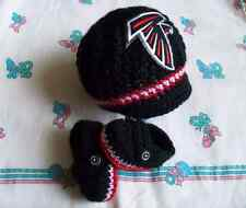 Handmade crochet baby Atlanta Falcons hat and booties (0-3 months, 3-6 months)