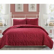 Queen King Bed Burgundy Beach Coastal Seashells 3 pc Quilt Set Coverlet Bedding