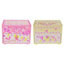 Wooden Jewelry Box Organizer Cosmetic Storage Box Case Pullout Drawer Mirror