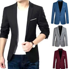 Mens Slim Fit Casual One Button Blazer Jacket Male Autumn Jacket Coat