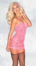 Womens Hot Pink Silhouette Chemise, Pink Mesh And Lace Chemise