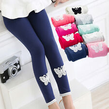 Kids Girls Tight Pants Lace Butterfly Warm Stretchy Leggings Trousers SU