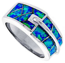 Women 925 Sterling Silver Rhodium Plated, Simulated Opal Inlay Ring 9mm Band