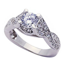 Women Silver Rhodium Plated Wedding CZ Set Vintage Solitaire Engagement Ring 8mm
