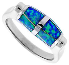 Women 925 Sterling Silver Rhodium Plated, Simulated Opal Inlay Ring 7mm