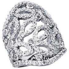 Women 925 Sterling Silver Rhodium Plated, Squared Leaf Cut Outs Ring Band