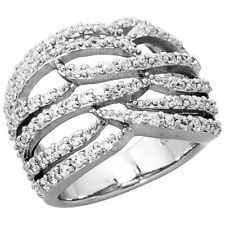 Women 925 Sterling Silver Rhodium Plated, Freeform Ring Band