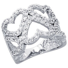 Women 925 Sterling Silver Rhodium Plated, Five Heart Cut Out Ring