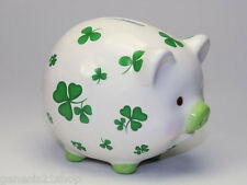 Ireland Clover Shamrock Piggy Bank St. Patrick's Day Collectable Ceramic