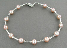 Silver and Pink Pearl Anklet - Small to Plus Size Ankle Bracelet