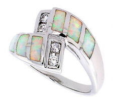 Fine Women Silver Rhodium Plated Opal Inlay Swirl Ring Violet Purple CZ 11mm
