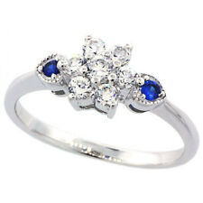 Fine Women 925 Sterling Silver Rhodium Plated Vintage Style Flower Ring Band 7mm
