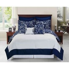 Twin Full Queen King Bed Navy Blue White Paisley Reverse 8 pc Comforter Set