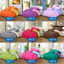 Soft Patchwork/Solid Duvet Quilt Cover &Pillowcase Bedding Set Single/Queen/King