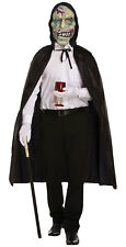 Hooded Witch Latex Mask Long Cape Adults Halloween Scary Fancy Dress