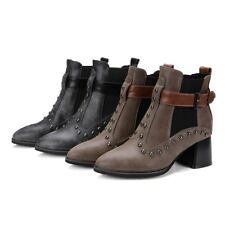 Fashion Punk Studded Pull On Ankle Boots Womens Pointed Toe Chunky Heels Shoes