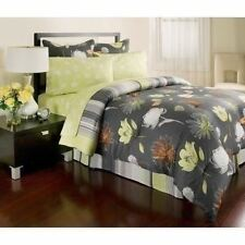Twin Full Queen King Bed Bag Gray Yellow Floral 8 pc Comforter Sheet Set Bedding