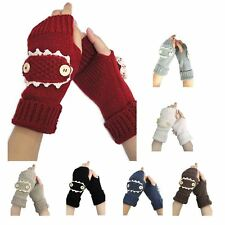 Womens Knitted Gloves Knit Cable Multi Buttons Mitten Warm- Hand Warmers
