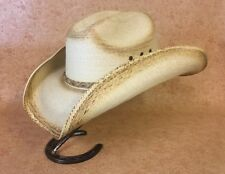 COWBOY HAT ~ SOFT Western PALM LEAF Straw ~ Celebrity Style ~ Burnt Edge DIPPED