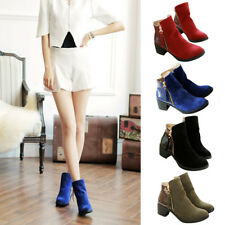 Womens Round Toe Leather Zip Ankle Boots Ladies Casual Mid Block Heel Shoes Size