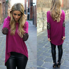 Casual Blouse Loose Tops Long Sleeve Shirt Round Neck Fashion Womens