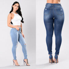 Ripped Knee Denim Pants High Waisted Stretch Skinny Fit Womens Jeans