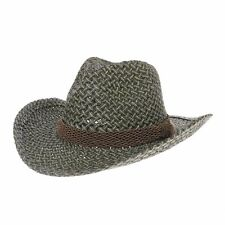 WITHMOONS Western Cowboy Hat Paper Straw Two Tones Banded Fedora CR8317