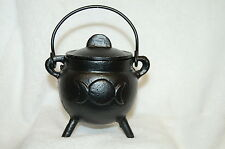 "Cauldron Triple Moon 3"" Cast Iron with Lid & Handle, Wicca, Pagan Witch Shop"