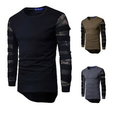 New Men Casual Top Solid Hipster Hip Hop Longline Curved Hem T-Shirt Street Wear