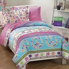 Girls Twin Full Bed Bag Peace Flowers Blue Pink 7 pc Comforter Sheet Set Bedding