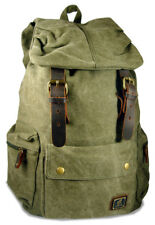 """Amik """"Del Ray"""" Italian-Style Vintage Canvas & Leather Backpack - Military Green"""