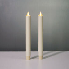"""Luminara Dancing Wick Wine Red Ivory Taper/dinner Candle Real Wax With Timer 8"""""""