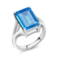 7.00 Ct Octagon Swiss Blue Topaz 925 Sterling Silver Solitaire Ring