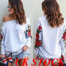 Women Casual Off Shoulder Embroidery Floral Long Sleeves Jumper Top Shirt Blouse