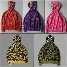 2017 Unisex Hoodie Bape Camo Fasion Shark Jaw Head Pattern A Bathing Ape Jacket