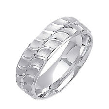 Men 7mm 14K White Gold Comfort Fit Wedding Ring Band / Free Gift Box