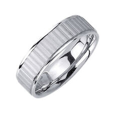Men Women 6.5mm 14K White Gold Comfort Fit Wedding Ring Band / Free Gift Box