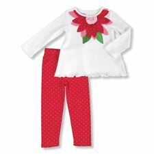 NWT Mud Pie Poinsettia Baby Girls Tunic & Leggings Christmas Outfit Set 0-6 6-9