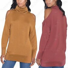 NEW LADIES POLO NECK COLD SHOULDER RIBBED JUMPER WOMENS CUT OUT BATWING LOOK TOP