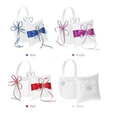 Double Heart Satin Ring Bearer Pillow and Wedding Flower Girl Basket Set P4C0